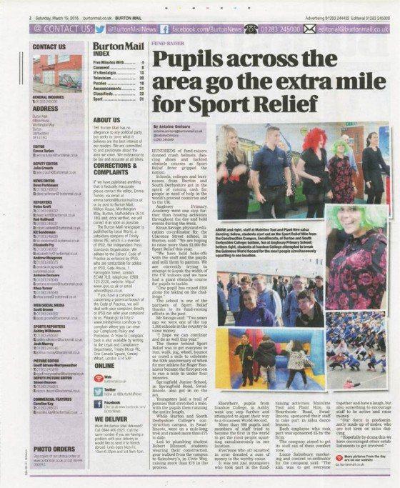 Sport Relief 2016 - Burton Mail